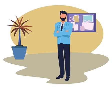 Executive businessman with arms crossed in the office with corkboard and plant pot ,vector illustration graphic design.