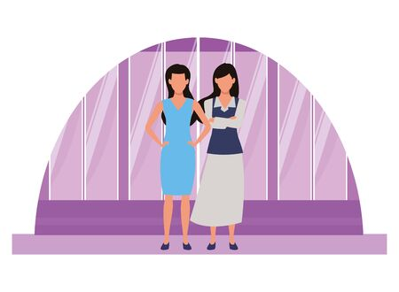 Two business partners working, executive entrepreneur teamwork over office windows background vector illustration graphic design.  イラスト・ベクター素材