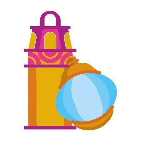 lanterns decoration festival golden and purple lamps, arabic and oriental culture cartoon vector illustration graphic design Ilustração