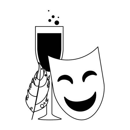 party mask with wine glass and feather festive carnival costume celebration decoration cartoon vector illustration graphic design  イラスト・ベクター素材