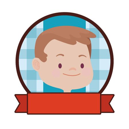 Cute kid boy face and head smiling cartoon round emblem with blank ribbon banner ,vector illustration graphic design.