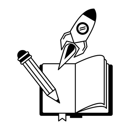 knowledge education idea concept elements cartoon vector illustration graphic design in black and white  イラスト・ベクター素材