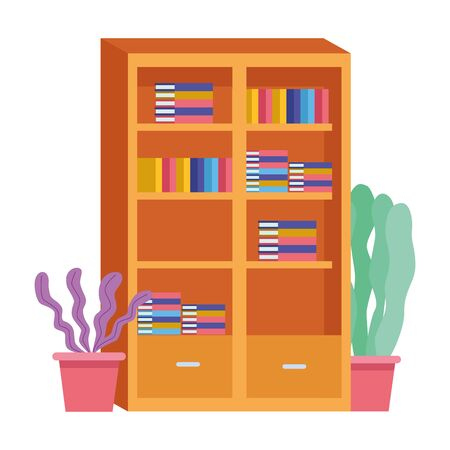 Office workplace library with books and plant pots elements cartoons ,vector illustration graphic design. Illusztráció