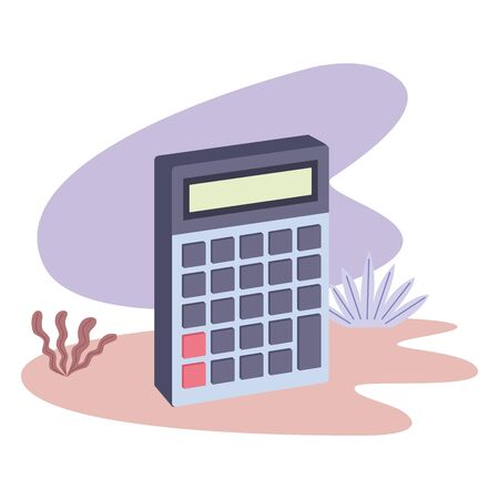 Calculator math device isometric symbol with leaves on splash background ,vector illustration graphic design. Иллюстрация