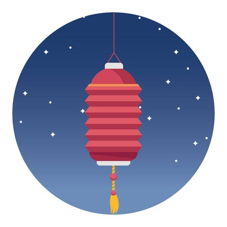 Chinese paper lantern hanging light in the sky at nigh round icon ,vector illustration graphic design.