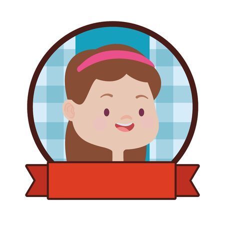 Beautiful girl kid smiling face and head cartoon round emblem with blank ribbon banner ,vector illustration graphic design.