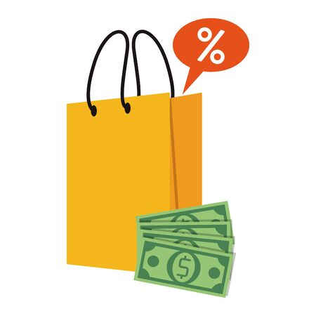 shopping retail sale store, shopping bag with discount label price and money cash cartoon vector illustration graphic design