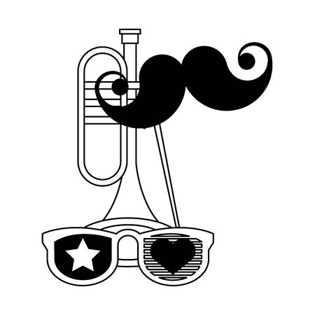 party festive celebration carnival happy entertainment, trumpet instrument with decoration cartoon vector illustration graphic design