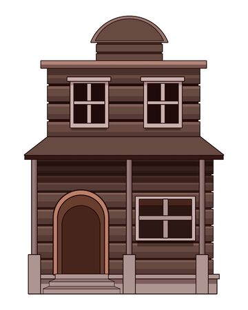 Wooden house western real estate building isolated vector illustration graphic design.