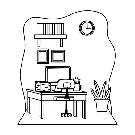 Office workplace desk with computer and bookshelf with plant pot elements cartoons ,vector illustration graphic design. Illusztráció