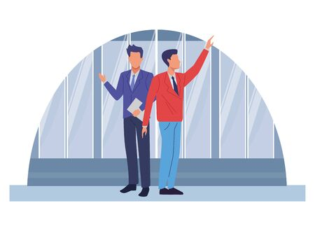Two business partners working, executive entrepreneur teamwork over office windows background vector illustration graphic design. Ilustracja