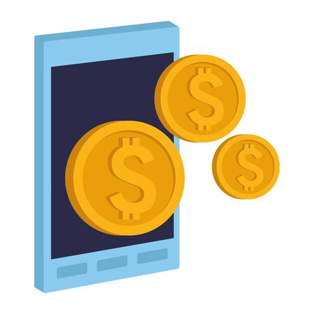 Office elements and business symbols smartphone with coins ,vector illustration graphic design.