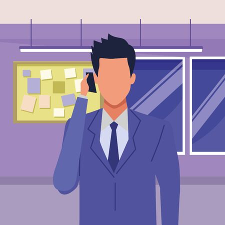 Executive businessman talking on phone and holding briefcase inside office building with corkboard and windows vector illustration graphic design.