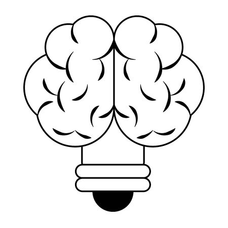 brain idea cartoon vector illustration graphic design in black and white Illustration