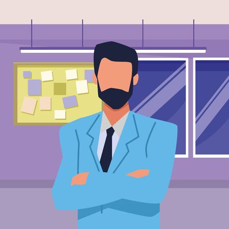 Executive businessman with arms crossed inside office building with corkboard and windows vector illustration graphic design.