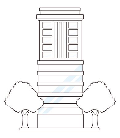business edifice building skyscraper with windows real estate with trees and garden in black and white vector illustration graphic design. Banque d'images - 129475641