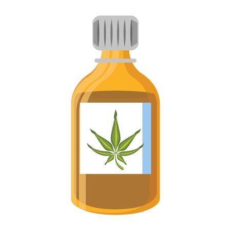cannabis martihuana medical marijuana medicine sativa hemp oil bottle cartoon vector illustration graphic design Çizim