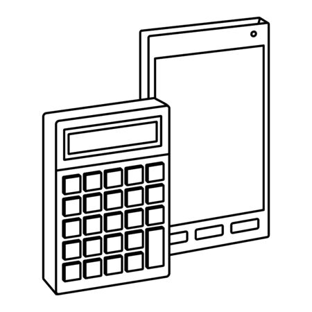 Office elements and business symbols smartphone and calculator ,vector illustration graphic design.