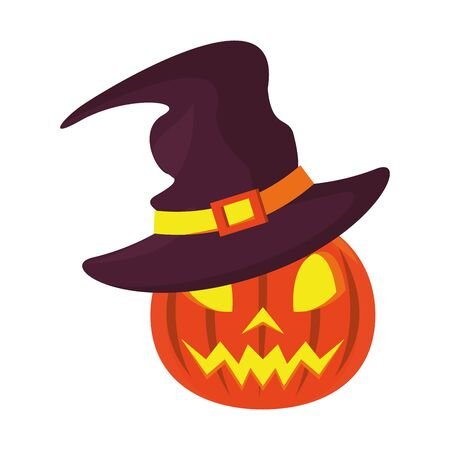 halloween october scary celebration, witch hat with pumpkin cartoon vector illustration graphic design
