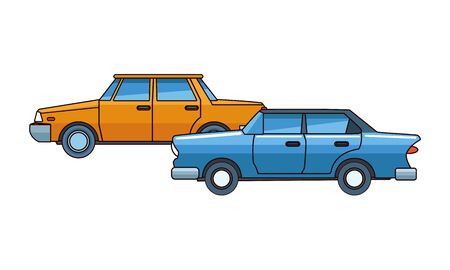 Vintage and classic cars modern vehicles vector illustration graphic design. Banque d'images - 129475674