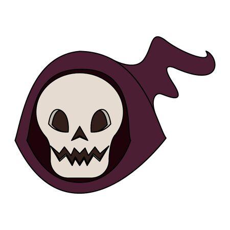 halloween october scary celebration skull death man face cartoon vector illustration graphic design Stock Illustratie