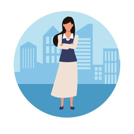 Executive businesswoman crossed arms in the city round icon vector illustration graphic design. 일러스트