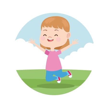 little girl smiling and playing in park cartoon round icon cartoon vector illustration graphic design.