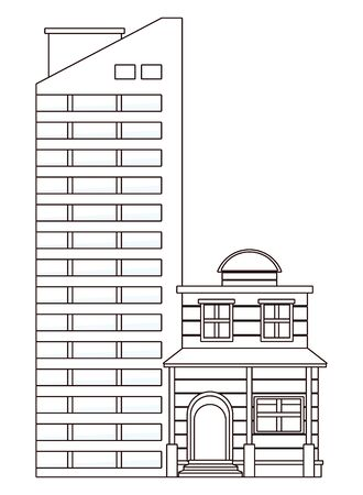 Urban buildings and city architecture, modern classics and antiques real estates edifices in black and white vector illustration graphic design. Stockfoto - 129529397