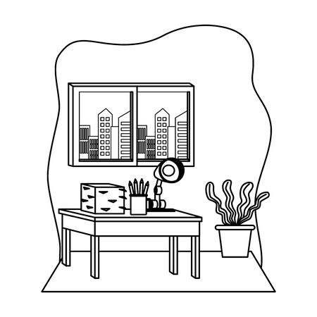 Office workplace desk with documents and desk light elements cartoons ,vector illustration graphic design. 일러스트