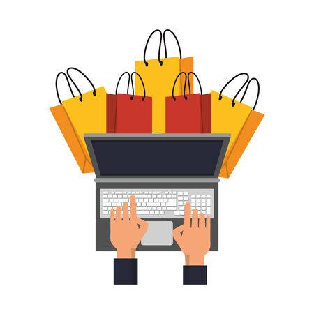online shopping ecommerce sale, buying by laptop computer cartoon vector illustration graphic design Stock Illustratie