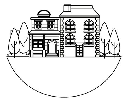 Urban buildings and city architecture, modern classics and antiques real estates edifices in black and white vector illustration graphic design. Stockfoto - 129525114