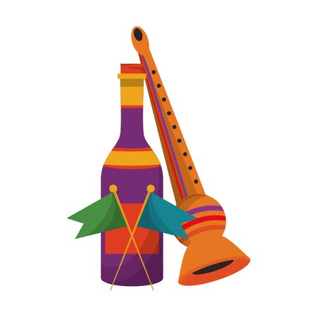 party festive celebration carnival happy entertainment, music flute instrument with decoration and champagne bottle cartoon vector illustration graphic design