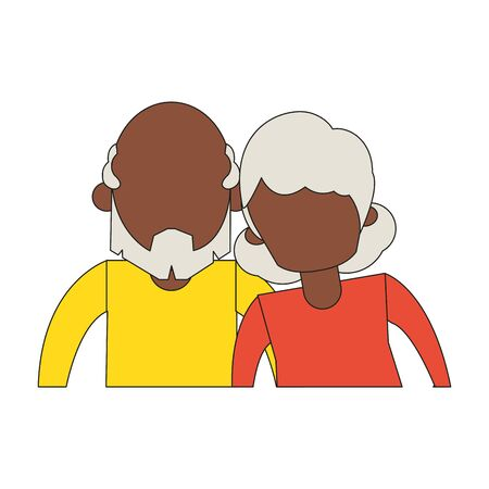 grandparents senior old retirement people grandmother and grandfather afro couple love cartoon vector illustration graphic design