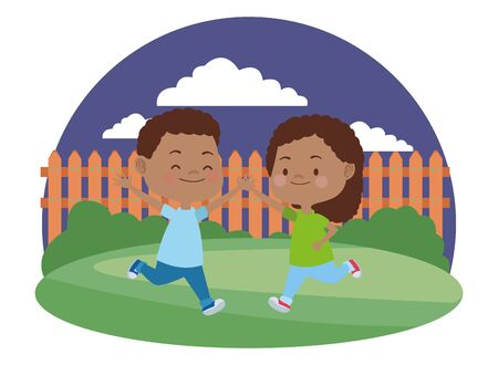 Happy kids boy and girl smiling and playing in the garden ,vector illustration graphic design. 일러스트