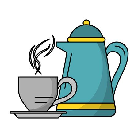 Coffee cup and kettle hot drink vector illustration graphic design