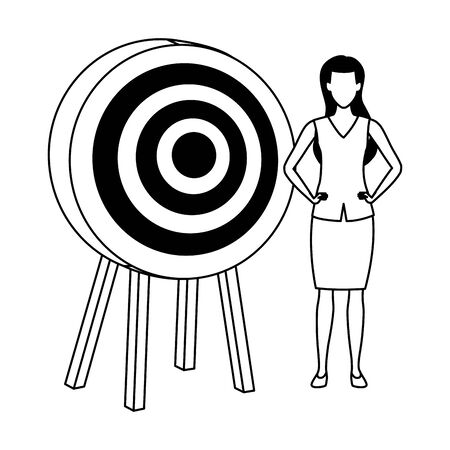 Executive businesswoman with target dartboard ,vector illustration graphic design.