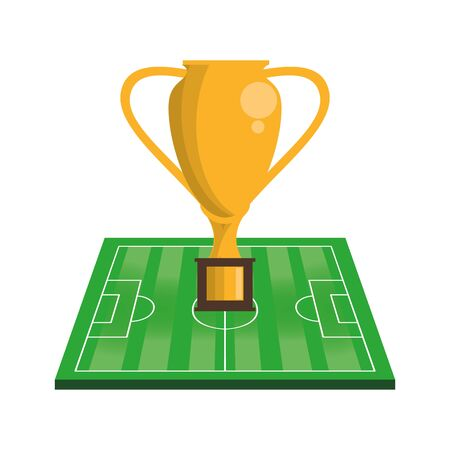 Soccer football sport game trophy cup and play field vector illustration graphic design Archivio Fotografico - 129530805