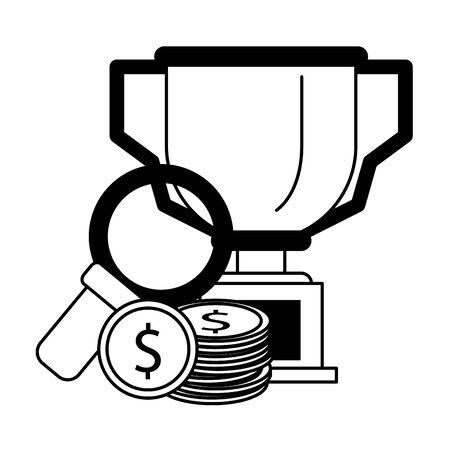 saving money concept elements cartoon vector illustration graphic design in black and white  イラスト・ベクター素材