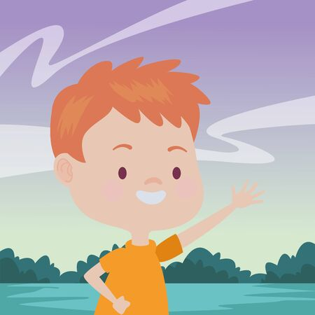 Cute boy children running, smiling and having fun cartoon at nature outdoors ,vector illustration graphic design. 일러스트