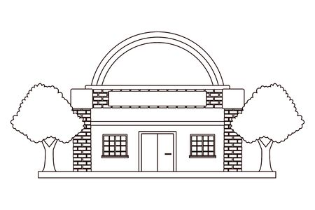 Planetarium space museum build real estate with trees and garden in black and white vector illustration graphic design.