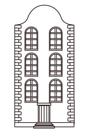 Classic bricks edifice real estate urban building in black and white vector illustration graphic design. Ilustração