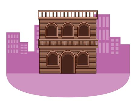 Wooden house western real estate building in the city town background vector illustration graphic design.