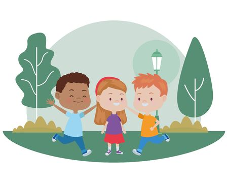 Happy kids smiling and playing with friends cartoon in the nature park scenery ,vector illustration graphic design.