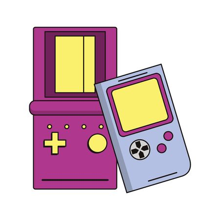 retro vintage game gameplay consoles isolated cartoon vector illustration graphic design 일러스트
