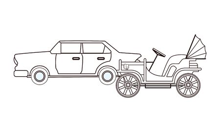 Vintage and classic cars antique vehicles in black and white vector illustration graphic design.