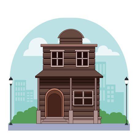 Costruzione occidentale immobiliare di casa in legno nella progettazione grafica dell'illustrazione di vettore del fondo della città delle luci di via della città. Vettoriali