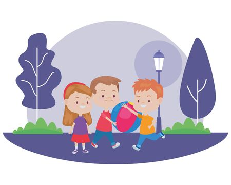 Happy kids smiling and playing with friends and ball cartoon in the nature park scenery ,vector illustration graphic design.