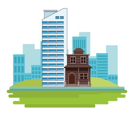 Urban buildings and city architecture over cityscape scenery background vector illustration graphic design.