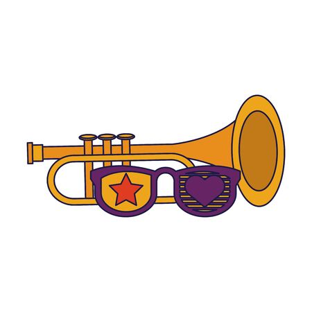 party festive celebration carnival happy entertainment, trumpet instrument with decoration cartoon vector illustration graphic design
