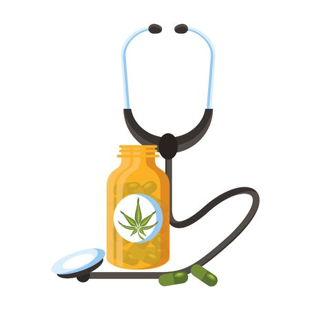 cannabis marihuana medical marijuana medicine sativa hemp pills bottle cartoon vector illustration graphic design